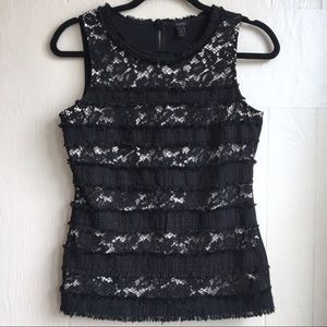 J. Crew Fringey Top in Tweed and Lace
